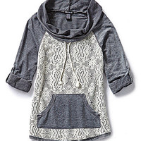 Miss Chievous Lace-Front Sweatshirt - Grey
