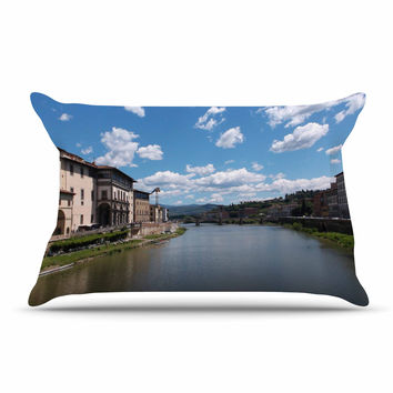 "Nick Nareshni ""Canals Of Italy"" Blue Travel Pillow Case"