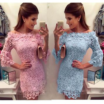 Off Shoulder Long Sleeve Lace Flower Bodycon Dress