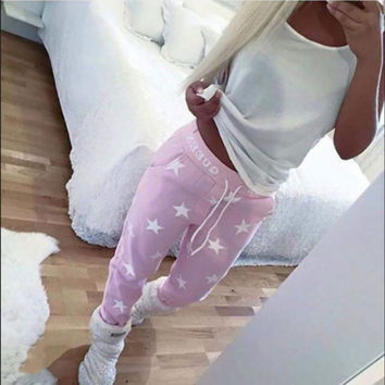 Casual High Rating Feedback Pink Gray Loose Pants Women Printed Star Long Trousers Fashion Sweatpants
