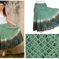 Long Cotton Batik and Crochet Skirt from Thailand - Green Boho Chic | NOVICA