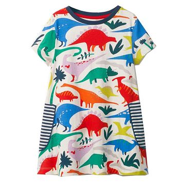 Princess Dress Animal Dinosaur Unicorn Party Baby Girls Dress Children Clothing Kids Summer Dresses for Girls Clothes