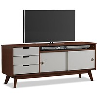 Modern Classic Mid-Century Style TV Stand Entertainment Center in Walnut and White
