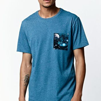 On The Byas Galaxy Pocket Crew T-Shirt - Mens Tee - Blue