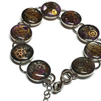 Purple and Black Steampunk Abstract Painted Chain Bracelet