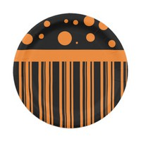 Orange and Black 7 Inch Paper Plate