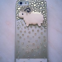 New Chic Cute Sparkly Sheep Bling Rhienstones Mobile Cell Phone Case Cover for iPhone 4s 5s 5c 6 Plus Samsung - Casemoda | Pinkoi