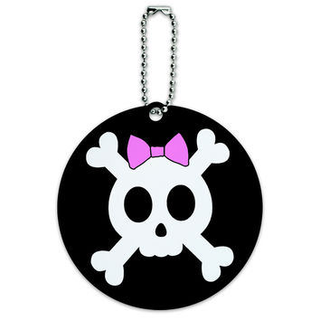 Girly Skull And Crossbones With Hairbow Round ID Card Luggage Tag