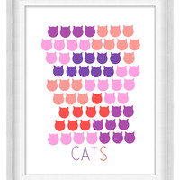 Printable Poster: Cats in Red Pink Purple - Vertical 8x10 - Digital Wall Art - Kid's Room Print