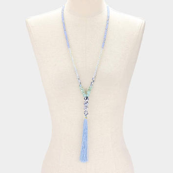 Blue Tassel drop glass bead strand long necklace