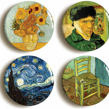Set of four Vincent Van Gogh badges buttons pins: Post Impressionism, Art (1inch/25mm diameter)