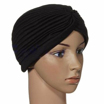 DCCKWQA Indian Cap Pleated Head Wrap Turban Stretchy Band Hat Cloche Chemo Hijab
