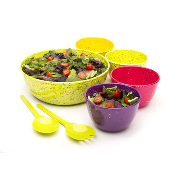Confetti 7-piece Salad Bowl Set - Flora