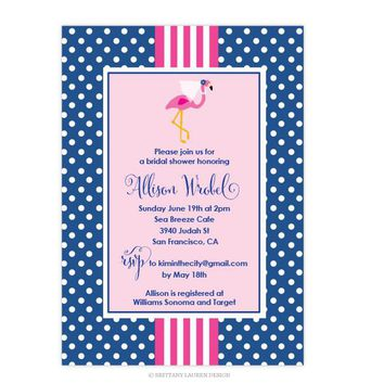 Preppy Party - Shower - Bridal - Baby Invitations - Set of 15 - Flamingo with Veil, Pearls and Polka Dots