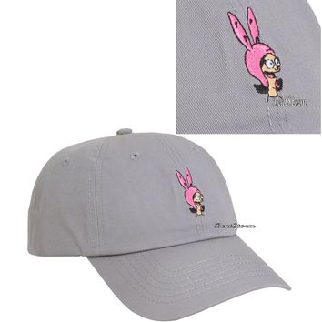Licensed cool Bob's Burgers Louise Belcher Grey Dad Cap Ballcap Baseball Hat Curved Rim NEW