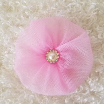 Tulle Flower with Pearl Rhinestone in your choice of color for DIY Wedding and Shower Decor