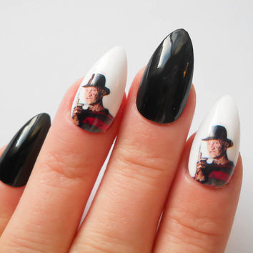 Stiletto Fake Nails, Fake Stiletto Nails, Stiletto Nails, Fake Nails, Almond Nails, Goth, Gothic, Nightmare on Elm Street, Freddy Krueger