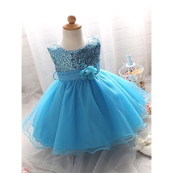 Sequins Ball Gown Newborn Toddler Girl Baptism Dress 1 Year Birthday Party Infant Baby Girl Clothes Costume