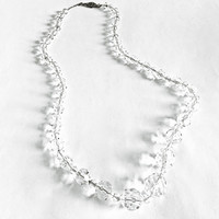 "Vintage Art Deco Crystal Faceted Glass Beads strung on  18"" Sterling Silver Chain with Box Type Clasp, Elegant Sparkling Necklace"