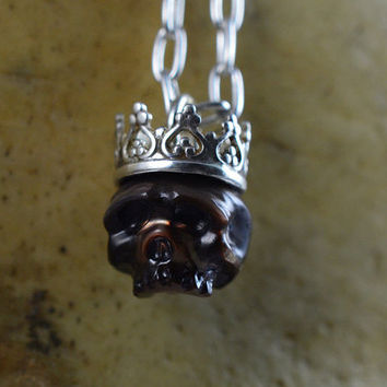 READY TO SHIP - Carved Skull Pearl Wearing Sterling Silver Crown - Handmade Necklace - Carved Pearl Jewelry - June Birthstone