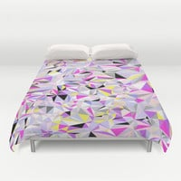 Grey + Pink + Yellow Duvet Cover by House of Jennifer