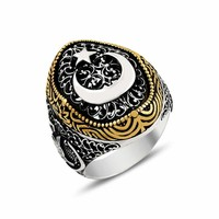 Authentic crescent star silver mens ring