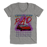 Radical 80s Neon Synth Wave Womens Athletic Grey T Shirt - Graphic Tee - Clothing - Gift