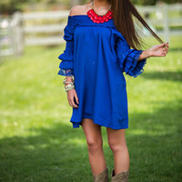 CLEARANCE Southern Glamour Belle Sleeve Lace Dress ROYAL - Modern Vintage Boutique
