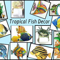 Tropical Fish Decor - Painted Metal Tropical Decor - Stained Glass Tropical Fish