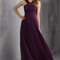Purple chiffon bridesmaid dress halter floor length prom party dress strapless chiffon  graduation dress custom any color