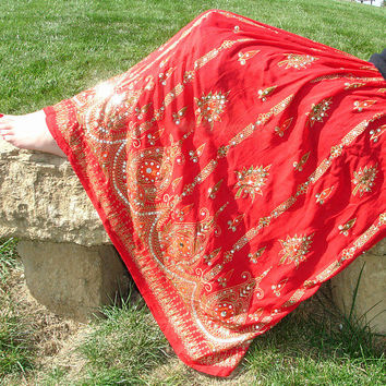Red Gypsy Skirt: Indian Skirt, Maxi Skirt, Long Flowy Boho Bohemain Crinkle Sequin Skirt Floral