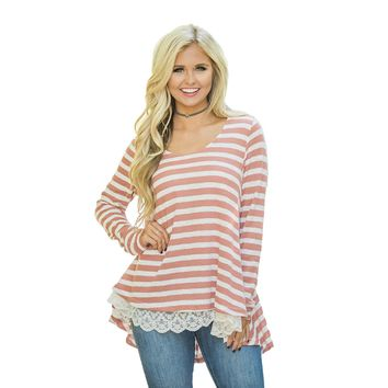 Casual Striped Long Sleeve Loose Top