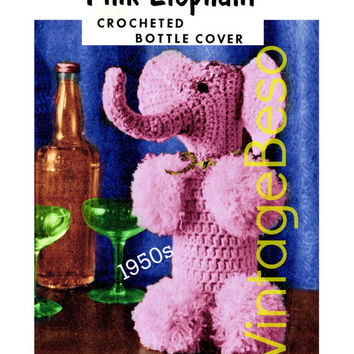 Pink Elephant CROCHET Pattern Vintage 1950s RARE Bottle Cover Hard to Find Pink Elephant New Year's Eve Mad Men Instant Download PDF Pattern