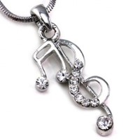 Treble Clef Music Note Pendant Necklace for Music Lovers Musicians Women Clear Rhinestone