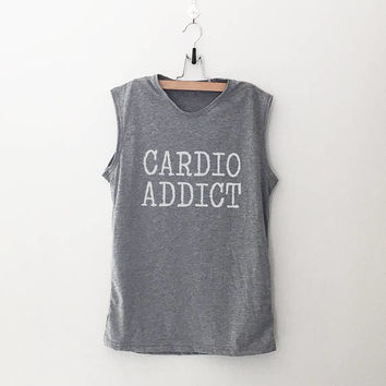 Cardio addict workout women tank running fitness muscle tank top womens funny sayings slogan activewear training gym tank work out