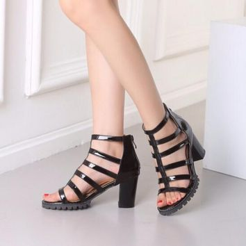 Low Chunky Heel Patent Leather Sandal
