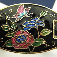 "Cloisonne Bracelet Red Roses Black Enamel Gold Metal Clamper Style Asian Inspired 1"" Vintage"