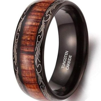 CERTIFIED 8mm Vintage Dome Wood Black Tungsten Carbide Ring