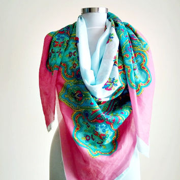 Bohomian Extra Large Shawl and Pareo . Spring Tribal Scarf . Colorful Cotton Boho Scaerves and  Wraps