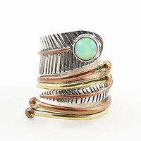 Ethiopian Opal Sterling Silver Three Tone Adjustable Wrap Ring