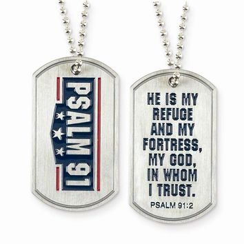 Brushed Silver-tone Psalm 91 Dog Tag Necklace