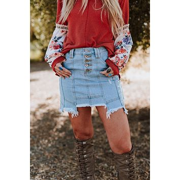 All That Distressed Denim Skirt