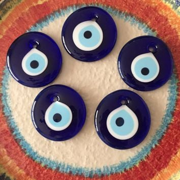Evil eye bead 7cm - 5 pcs - nazar boncuk - Turkish evil eye décor - evil eye wall hanging