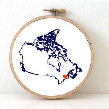 Canada Map Cross Stitch Pattern. Printeble Canada embroidery pattern highlighting Ottowa. Travel map.