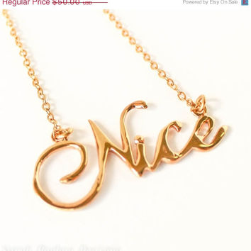VALENTINES DAY SALE Nice handwriting 10k gold plated Christmas necklace