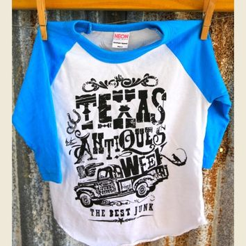 KidS TEXas AnTiQues Week Raglan-BLuE