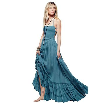 2017 new beach dress sexy dresses boho bohemian dress summer maxi long backless cotton women party hippie chic vestidos mujer