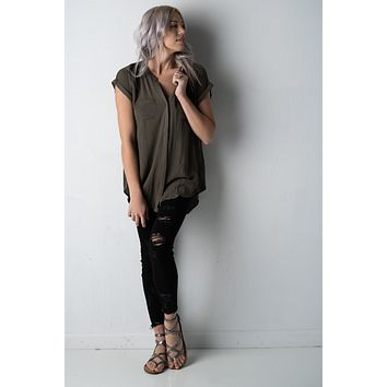 Short Sleeve Olive Tunic Blouse