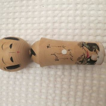 Vintage Hand painted signed Japanese Kokeshi Doll