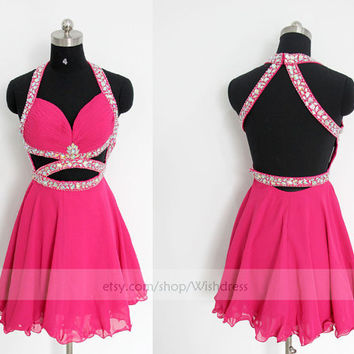 Handmade Sexy Halter Open Back Fuchsia Chiffon Short Prom Dress/ Cocktail Dress/ Party Dress/ Homecoming Dress /Sweet 16 Dress By Wishdress